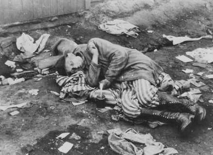 Un survivant des camps, peu après la libération. Bergen-Belsen, Allemagne, après le 12 avril 1945.