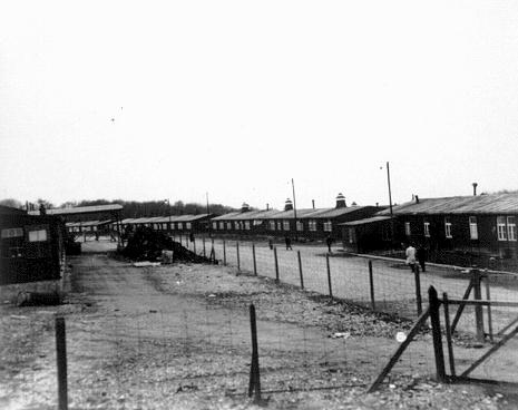 A view of barracks in the Buchenwald concentration camp. This photograph was taken after the liberation of the camp. Buchenwald, Germany, after April 11, 1945.