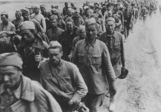 Columns of Soviet prisoners of war. Soviet Union, September 15, 1942.