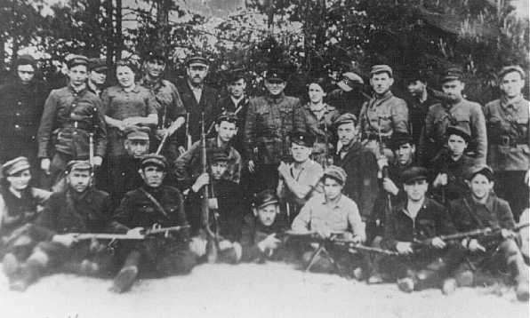 Jewish partisans in Naliboki forest, near Novogrudok. Poland, 1942 or 1943.