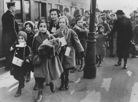 Austrian Jewish refugee children, members of one of the Children's Transports (Kindertransporte), arrive at a London train station. Great Britain, February 2, 1939.