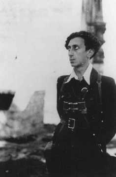 Abba Kovner, commander of Vilna ghetto's United Partisan Organization (FPO), poses shortly after liberation. After July 13, 1944,