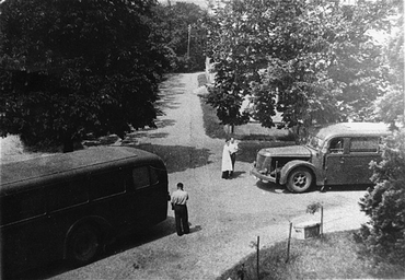 Buses that transported patients from a public hospital near Wiesbaden to the Hadamar euthanasia center, where the patients were gassed or killed by lethal injection. Germany, between May and September 1941.