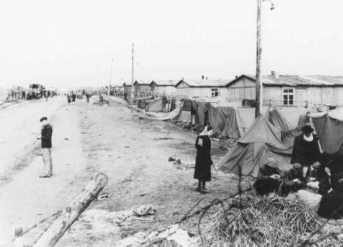 View of Bergen-Belsen concentration camp. Germany, date uncertain.