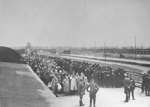 The ramp in Birkenau, May 1944.