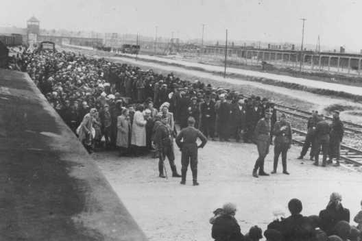 A transport of Hungarian Jews lines up for selection at Auschwitz. Poland, May 1944.