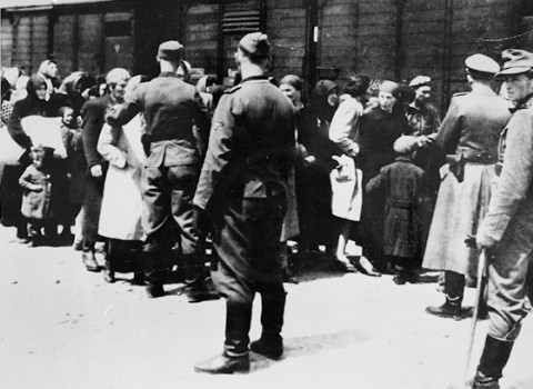 Esta fotografía, parte del álbum de Auschwitz, fue usada como prueba en el juicio de Frankfurt. Sobre la derecha extrema, se puede ver a Stefan Baretzki, un acusado en el juicio, que fue condenado en parte porque esta foto demuestra que trabajaba en la rampa.