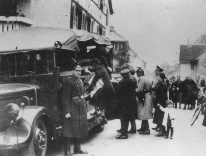Deportation of German Jews to France, where Vichy officials would intern them in the Gurs camp (in southwestern France). Gailingen, Germany, October 1940.