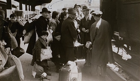 Deportation of Jews from Hanau, near Frankfurt am Main, to the Theresienstadt ghetto. Hanau, Germany, May 30, 1942.