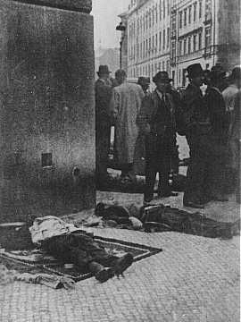 SS General Reinhard Heydrich's assassins, Czech partisans, lie dead in front of the Carlo Boromeo Church (now the St. Cyril and Methodius Church). Prague, Czechoslovakia, June 1942.