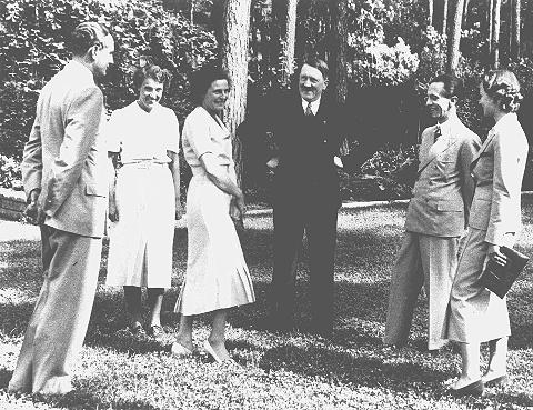 Adolf Hitler (center) with (from left to right): Heinz Riefenstahl, Frau Dr. Ebersberg, Leni Riefenstahl, Joseph Goebbels, and Ilse Riefenstahl. Germany, date uncertain.