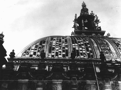 Dome of the Reichstag (German parliament) building, virtually destroyed by fire on February 27, 1933. Hitler used the arson to convince President Hindenburg to declare a state of emergency, suspending constitutional safeguards. Berlin, Germany, 1933.
