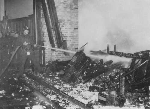 The Berlin Fire Brigade extinguishes the Reichstag (German parliament) fire. Berlin, Germany, February 27, 1933.