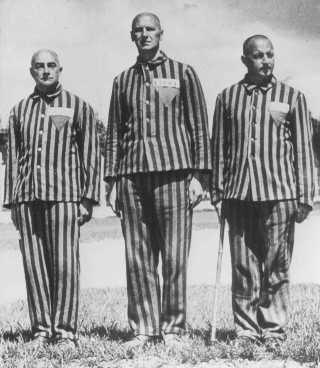 Austrian prisoners, marked with triangles and identifying patches, in the Dachau concentration camp. Germany, April 1938.