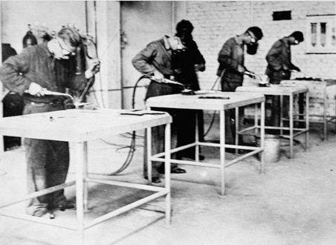 A chemistry laboratory in the Buna synthetic-rubber works in the Buna-Monowitz camp. Poland, between 1941 and January 1945.