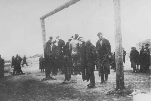 Members of the Lvov Jewish council are hanged by the Germans. Lvov, Poland, September 1942.