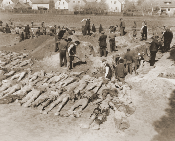 German civilians from Schwarzenfeld dig graves for the reburial of 140 Hungarian, Russian, and Polish Jews exhumed from a mass grave near the town. The victims died while on an evacuation transport from the Flossenbürg concentration camp. Schwarzenfeld, Germany, April 25, 1945.