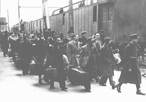 Foreign Jews arrested in Paris at the Austerlitz train station before deportation to the French-administered internment camps Pithiviers and Beaune-la-Rolande in the Loire region. Paris, France, ca. May 1941.