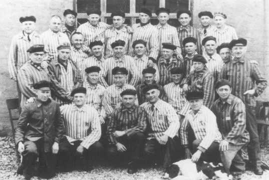 A group of Jehovah's Witnesses in their camp uniforms after liberation. These men were imprisoned in the Niederhagen bei Wewelsburg concentration camp. Niederhagen bei Wewelsbug, Germany, 1945.