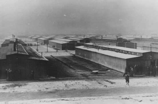 Barracks of the women's camp at the Auschwitz-Birkenau camp. Poland, 1944.