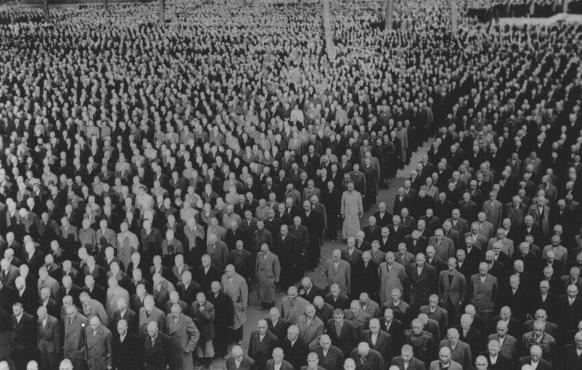 "Roll call for newly arrived prisoners, mostly Jews arrested during Kristallnacht (the ""Night of Broken Glass""), at the Buchenwald concentration camp. Buchenwald, Germany, 1938."