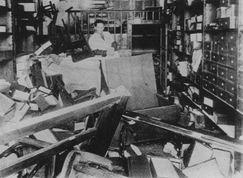Jewish-owned store vandalized during the January 21-23 Iron Guard pogrom. Bucharest, Romania, January 1941.