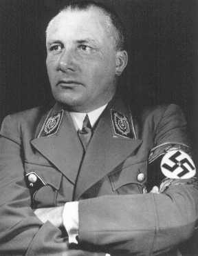 Portrait of Martin Bormann. Bormann died in an effort to flee Berlin in the last days of World War II, but was long thought to be at large. He was tried in absentia at Nuremberg, where he was sentenced to death.