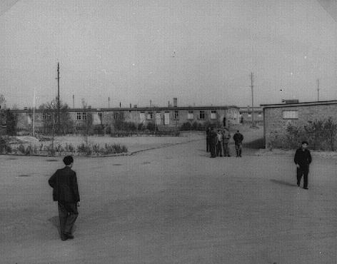 View of the Zeilsheim displaced persons camp. Zeilsheim, Germany, 1945.
