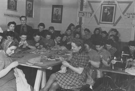 Jewish displaced persons in an ORT (Organization for Rehabilitation through Training) sewing workshop. Landsberg, Germany, between 1945 and 1947.