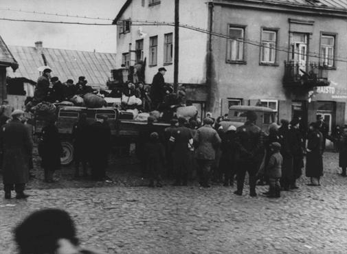 Deportation from the Kovno ghetto to forced-labor camps in Estonia. Kovno, Lithuania, October 1943.