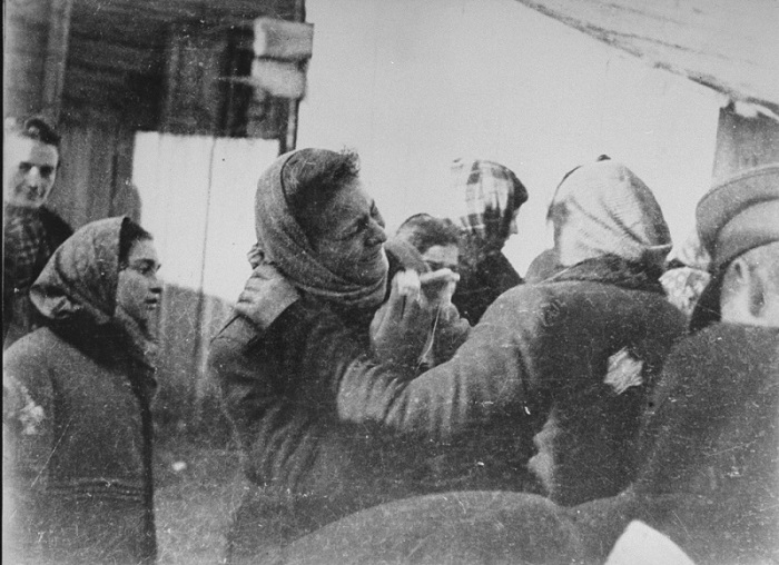 Clandestine photograph taken by George Kadish: scene during the deportation of Jews from the Kovno ghetto. Kovno, Lithuania, 1942.