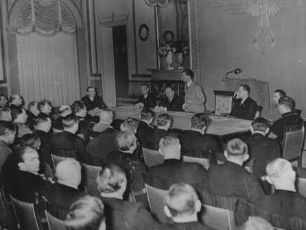 Nazi minister of propaganda Joseph Goebbels delivers a speech to his deputies for the press and arts. Berlin, Germany, November 1936.