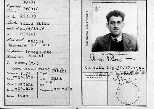 False identity card of Jewish partisan Vittorio Finzi, issued in the name of Vittorio Rossi. Italy, wartime.