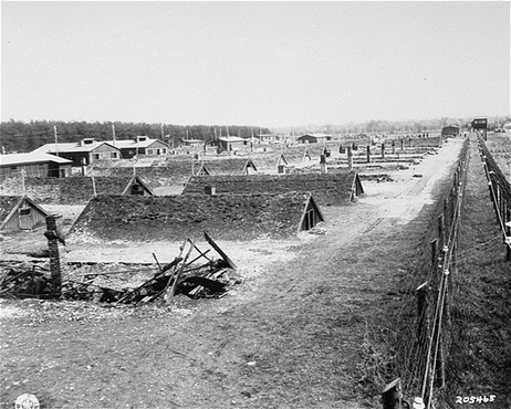View of barracks after the liberation of Kaufering, a network of subsidiary camps of the Dachau concentration camp. Landsberg-Kaufering, Germany, April 29, 1945.