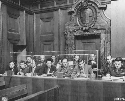 View of the interpreters' section in the courtroom during the International Military Tribunal. Nuremberg, Germany, March 29, 1946.