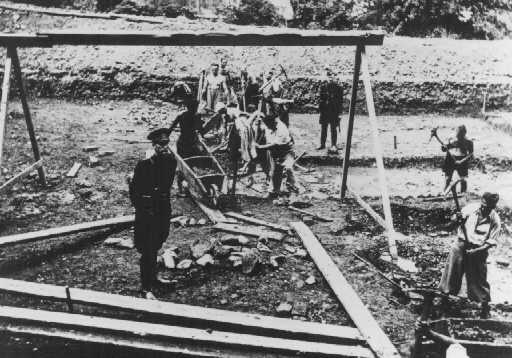 Jewish inmates at forced labor in the Vyhne concentration camp. Czechoslovakia, between 1941 and 1944.