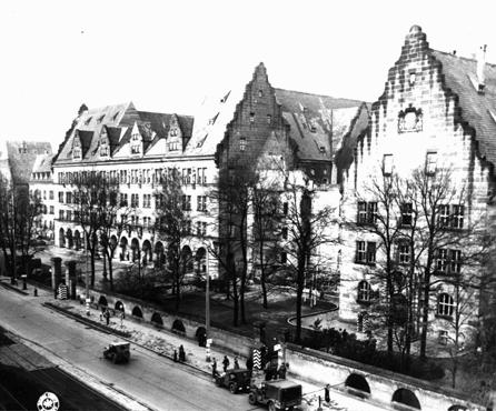 View of the Palace of Justice (left). Nuremberg, Germany, November 17, 1945.