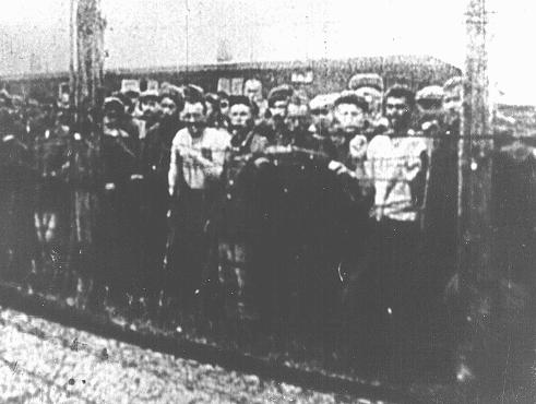 Soviet prisoners of war, survivors of the Majdanek camp, at the camp's liberation. Poland, July 1944.
