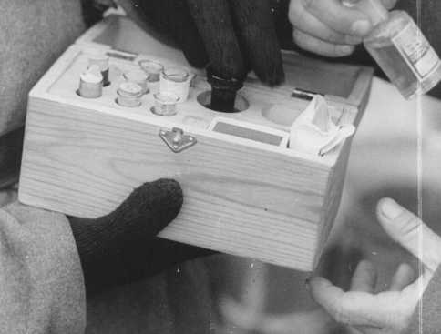 Soviet soldiers inspect a box containing poison used in medical experiments. Auschwitz, Poland, after January 27, 1945.