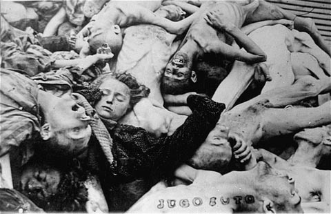 A pile of corpses in the newly liberated Dachau concentration camp. Dachau, Germany, April 29-May 1945.