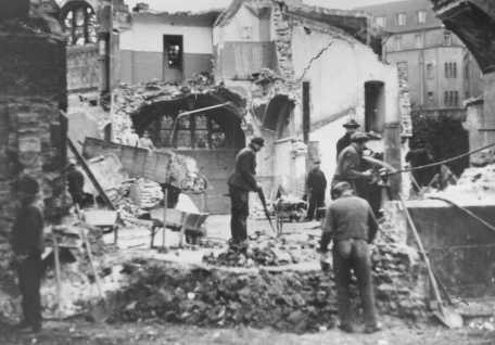 "Destruction of the Dortmund synagogue during Kristallnacht (the ""Night of Broken Glass""). Germany, November 1938."