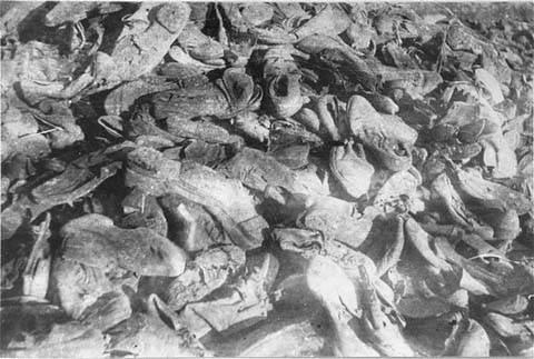 Shoes of victims in the Janowska camp were found by Soviet forces after the liberation of Lvov. Janowska, Poland, August 1944.