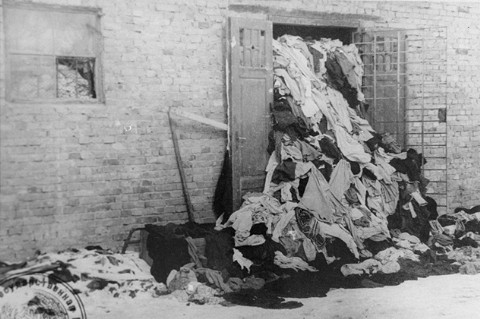 One of many warehouses at Auschwitz in which the Germans stored clothing belonging to victims of the camp. This photograph was taken after the liberation of the camp. Auschwitz, Poland, after January 1945.