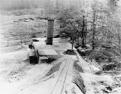 The crematorium building at the Flossenbürg concentration camp. Flossenbürg, Germany, May 1945.