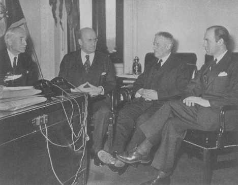 Third meeting of the board of directors of the War Refugee Board. From the left are Secretary of State Cordell Hull, Treasury Secretary Henry Morgenthau, Secretary of War Henry Stimson, and Executive Director John Pehle. Washington, DC, United States, March 21, 1944.