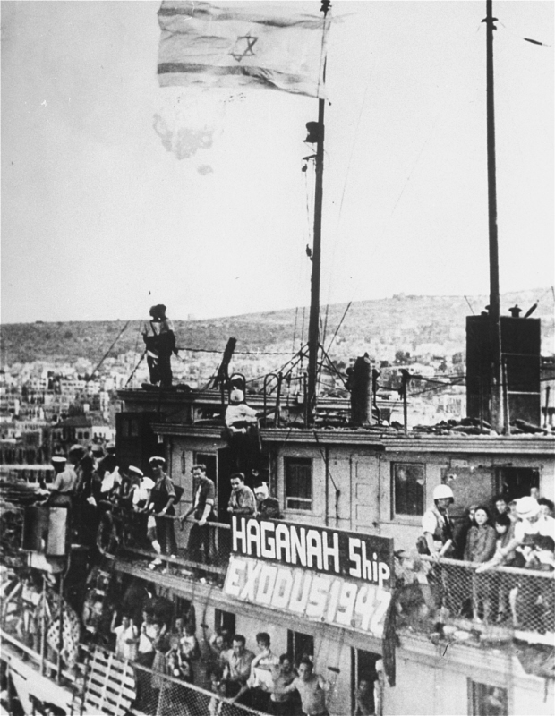 "Jewish refugees on the ship ""Exodus 1947"" at Haifa port. British soldiers will return the passengers to Europe. Palestine, July 19, 1947."