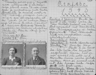 Page from the diary of Peter Feigl, a Jewish child hidden in the Protestant village of le Chambon-sur-Lignon. The photos show his parents, who perished in a concentration camp. The text is in French and German. Le Chambon-sur-Lignon, France, 1942-1943.