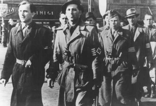 Members of the Arrow Cross Party after taking over power. Budapest, Hungary, October 17, 1944.