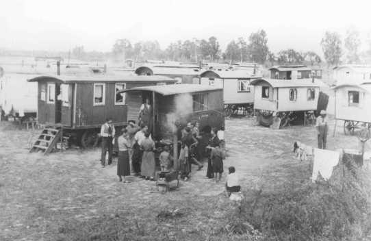 Marzahn, the first internment camp for Roma (Gypsies) in the Third Reich. Germany, date uncertain.