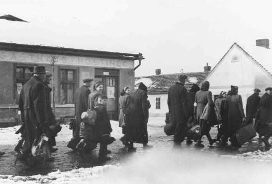 Czech Jews are deported from Bauschovitz to Theresienstadt ghetto. Czechoslovakia, between 1941 and 1943.